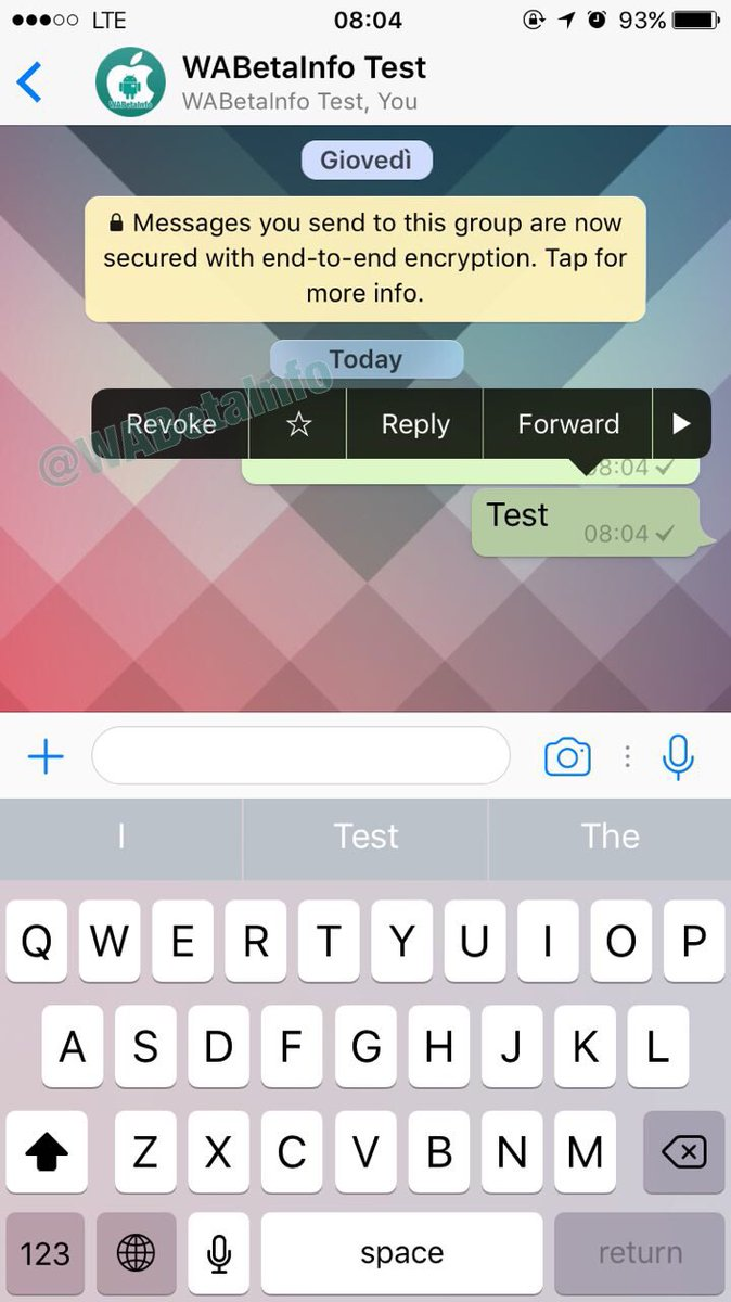 WhatsApp Beta edit revoke update
