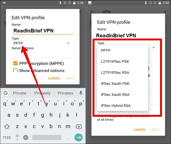 you will see PPTP as default VPN type.