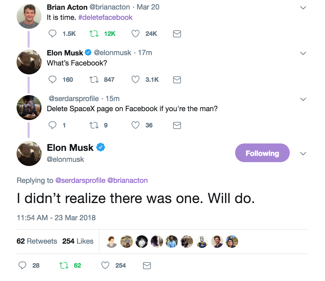 Elon Musk just deleted Tesla and SpaceX's Facebook pages