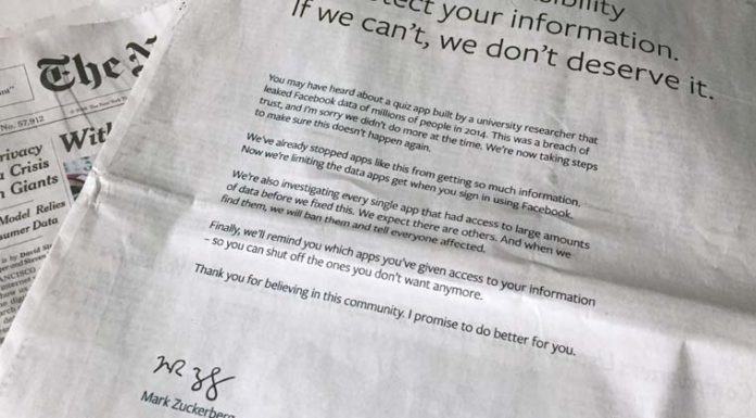 Facebook's Mark Zuckerberg says sorry with full-page apology across several newspapers