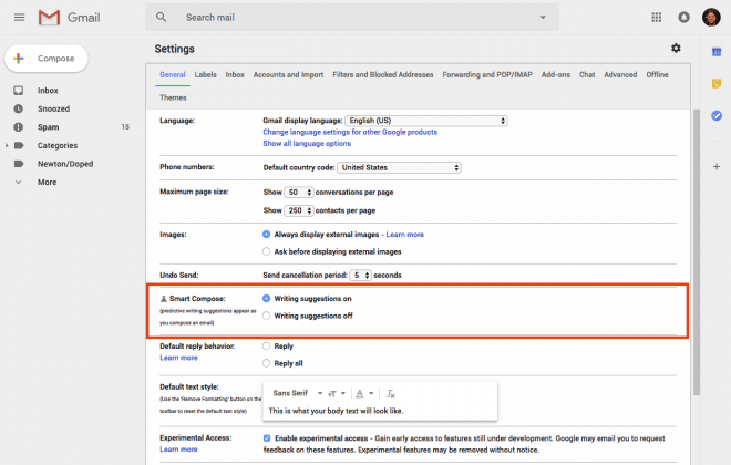 enable smart compose in Gmail