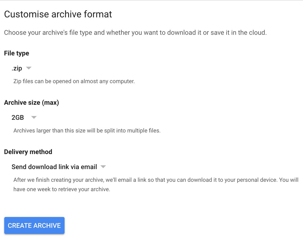 last step to download google plus data
